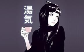Picture girl, background, glasses, Cup, anime, art, Ilya Kuvshinov