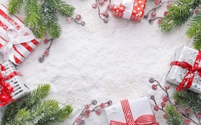 Wallpaper winter, christmas, branches, xmas, Christmas, wood, berries, gifts, fir tree, snow, merry christmas, snow, gifts, ...