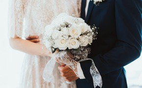 Picture flowers, roses, bouquet, white, the bride, the groom, wedding