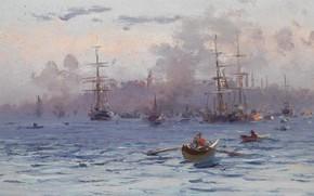 Picture landscape, Strait, boat, ship, picture, Fausto Zonaro, Fausto Zonaro, Cape Serale. Istanbul