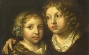 Picture oil, portrait, picture, canvas, The daughter and Son of the Artist Konstantin, Caspar Netscher