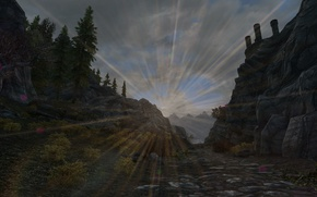Picture road, the sun, trees, Fort, road, trees, sun, skyrim, Skyrim, fort, tes 5