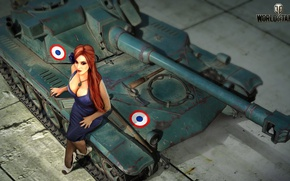 Wallpaper AMX ELC, art, tank, girl, figure, Nikita Bolyakov, World of Tanks