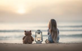 Wallpaper sand, sea, mood, toy, girl, lantern, bear, Teddy bear