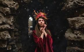 Picture girl, makeup, wreath, Pelageya Klevtsova