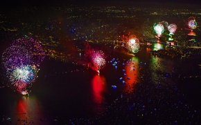 Picture salute, fireworks, Sydney, Sydney Harbour Bridge, Australia, New Year