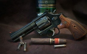 Picture gun, whiskey, weapon, revolver, cigar, Smith & Wesson, Ammunition, S&W