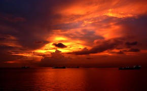 Picture sea, clouds, sunset, ships