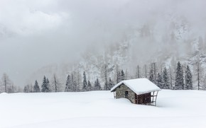 Picture snow, mountains, fog, house