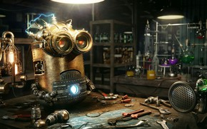 Picture instrumento, office, laboratory, Steampunk Minion, Dmitriy Ten