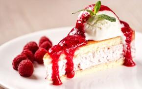 Picture berries, raspberry, ice cream, cake, cake, cream, dessert, syrup, dessert, biscuit, Ice cream
