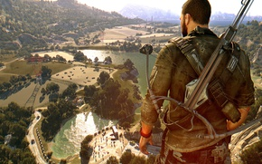 Picture game, survivor, bow, vegetation, Dying Light, Dying Light The Following, Dying Light: The Following