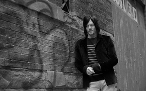 Wallpaper Norman Reedus, the wall, photoshoot, Eric Guillemain, is, jacket, actor, Norman Reedus, Vogue, black and ...