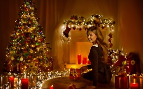 Picture winter, girl, night, smile, mood, tree, candles, gifts, New year, decoration, garland