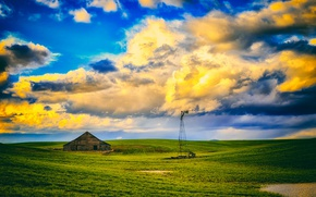 Picture field, house, windmill