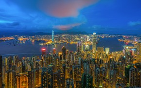 Wallpaper the city, landscape, night lights, night city, Hong Kong, China, sea