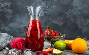 Picture strawberry, Lime, Drink, orange, berries, flowers