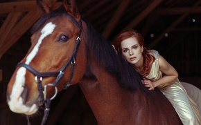Wallpaper horse, redhead, red, girl, horse, look
