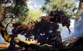 Picture Nature, Girl, Tree, Robot, Fur, Ancient, PS4 Pro, Horizon Zero Dawn, Eloy, SonyPlaystation