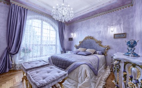 Picture style, Villa, bed, pillow, blanket, window, chandelier, luxury, Design, bedroom, luxury, Interior, Bedroom