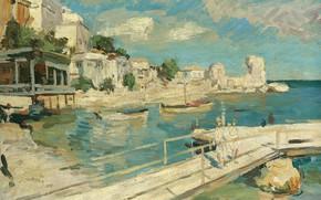 Picture sea, landscape, picture, pier, Konstantin Korovin, Black Sea Coastal Scene