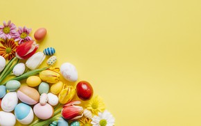 Picture Flowers, Easter, Eggs, Background, Holiday