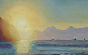 Picture animals, landscape, picture, Rockwell Kent, Rockwell Kent, Killer whales in Resurrection Bay, Alaska