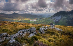 Picture mountains, stones, valley, Wales, Snowdonia