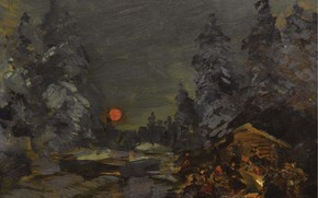 Picture forest, night, picture, The fire, halt, bed, Konstantin Korovin