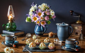 Picture flowers, style, books, lamp, coffee, bouquet, tulips, mugs, still life, daffodils, cupcakes, coffee grinder