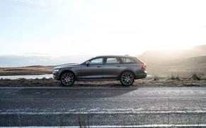 Wallpaper Car, Volvo, Universal, Drive, Road, 2017, Silver, V90, Cross Country