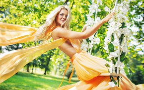 Picture greens, grass, the sun, trees, flowers, smile, swing, mood, makeup, garden, dress, hairstyle, blonde, beauty, …