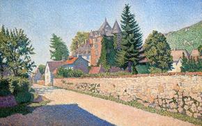 Picture road, landscape, the fence, home, picture, Paul Signac, pointillism, Castle Combat
