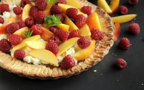 Picture raspberry, peach, tart