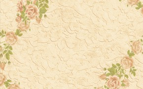 Wallpaper leaves, background, roses, texture, beige, Cvety