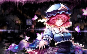Picture girl, butterfly, anime, fan, Touhou