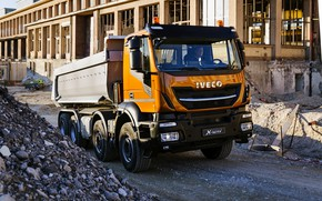 Picture construction, body, crushed stone, dump truck, 8x4, Iveco, Stralis X-Way, Super Loader, orange-black