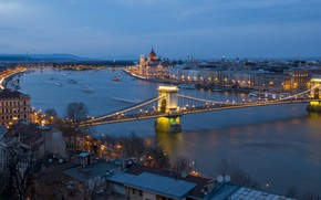 Picture night, bridge, panorama, Parliament, Hungary, Budapest, The Danube