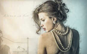 Picture back, girl, necklace, art, blonde, hairstyle