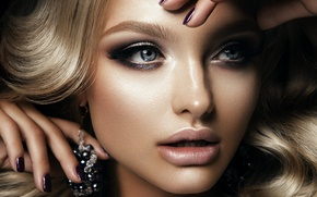 Picture look, girl, face, eyelashes, model, hair, hands, makeup, blonde, blue eyes, earrings, manicure, Korabkova