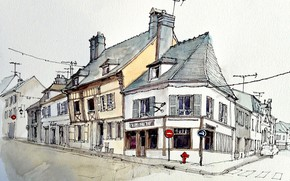 Picture the city, street, figure, home, watercolor, crossroads