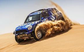 Picture Sand, Mini, Blue, Sport, Desert, Speed, Race, Rally, SUV, Rally, Dune, 209, X-Raid Team, MINI …