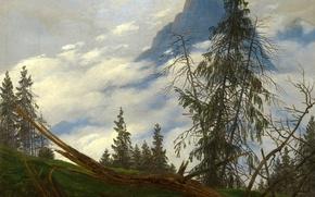 Picture landscape, mountains, Caspar David Friedrich, picture, Mountain Peaks with Clouds Moving