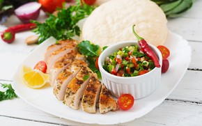 Picture pepper, tomatoes, salad, the second dish, Chicken breast, Pita