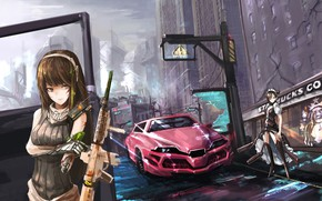 Picture girls, anime, art, ruins, M4A1, Agent, Girls Frontline