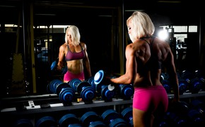Picture muscles, blonde, back, mirror, fitness