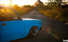 Picture the sun, nature, tuning, rainbow, blue, VAZ-2104