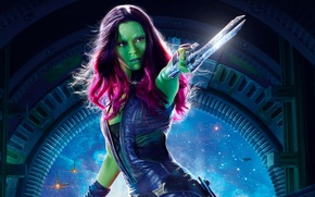 Wallpaper fiction, Zoe Saldana, Zoe Saldana, Guardians of the Galaxy Vol. 2, Gamora, Guardians Of The ...