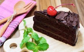 Wallpaper cake, chocolate, cream chocolate, mint