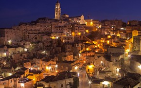 Picture night, lights, home, Italy, Basilicata, Mater